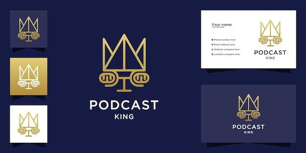 Podcast king-logo met gezicht van mensen en visitekaartje