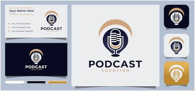 Podcast locatie logo ontwerp podcast microfoon chat logo ontwerp radio logo met microfoon