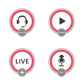 Podcast-logo-set. symbolen en knoppen van live streaming, uitzendingen.