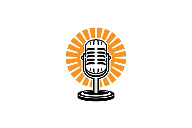 Podcast logo sjabloon mic microfoon en zonsopgang illustratie ontwerp voor karaoke podcast logo