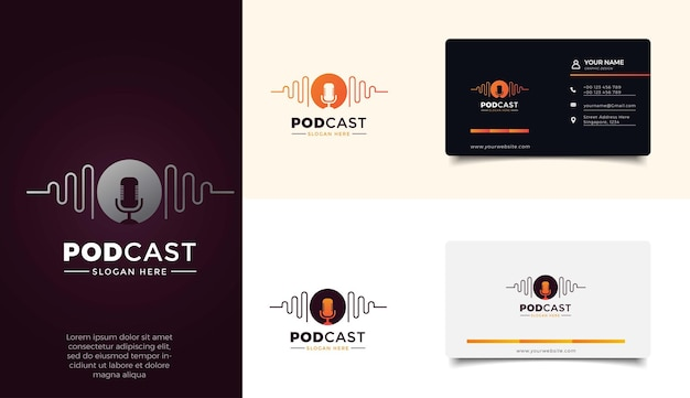 Podcast logo sjabloon set