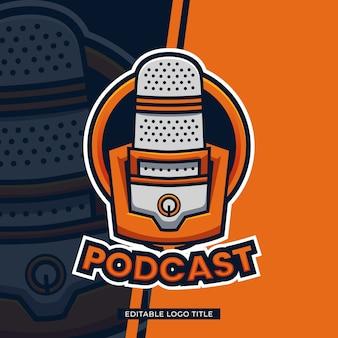 Podcast logo sjabloonontwerp met bewerkbare tekst