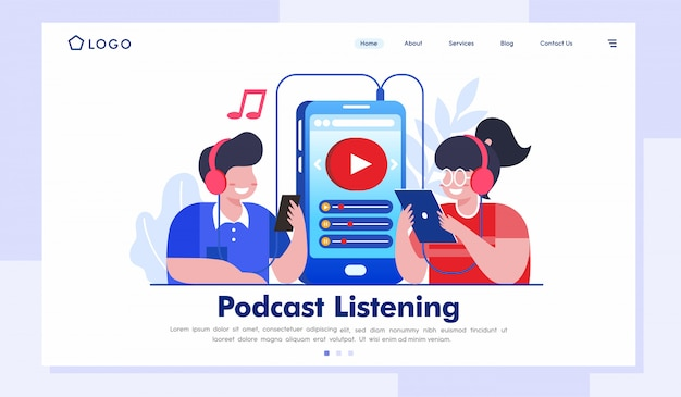 Podcast luisteren landingspagina website illustratie vector