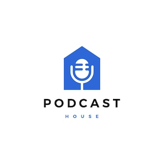 Podcast mic huis huis logo pictogram illustratie