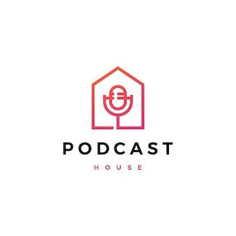 Podcast mic huis huis logo pictogram