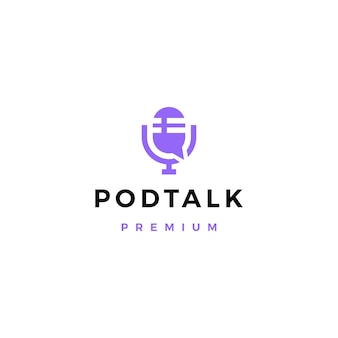 Podcast microfoon praten chat bubble logo