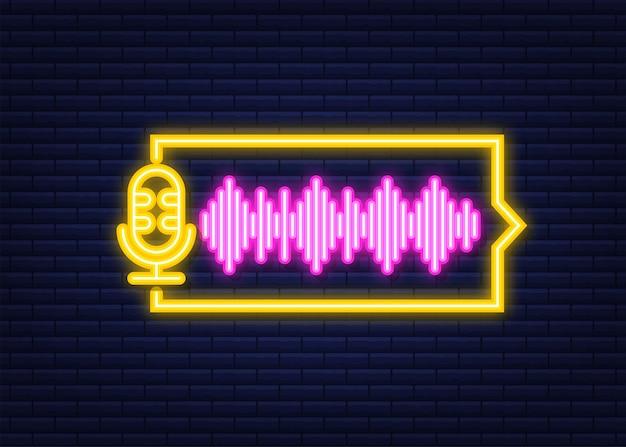 Podcast-neonpictogram. badge, pictogram, stempel, logo. vector voorraad illustratie.