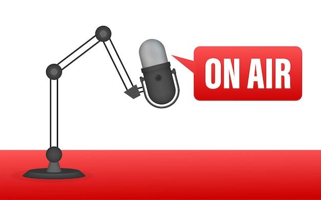 Podcast-pictogram zoals live in de lucht. podcast. badge, pictogram, stempel, logo. radio-uitzending of streaming. vector illustratie
