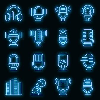 Podcast pictogrammen instellen. overzichtsreeks podcast vectorpictogrammen neonkleur op zwart