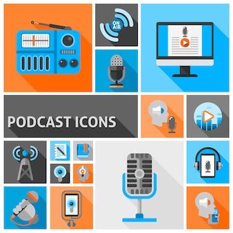 Podcast platte elementen