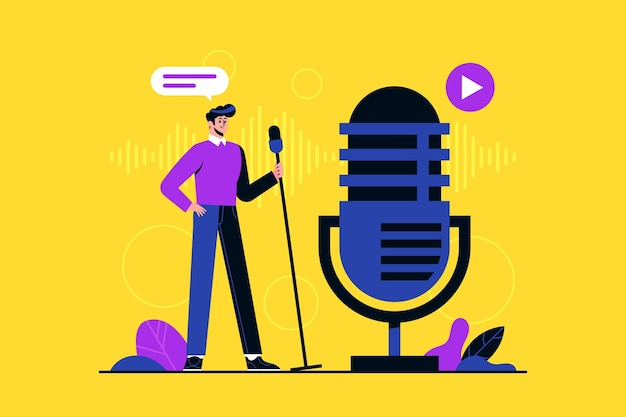 Podcast radiostation concept illustratie