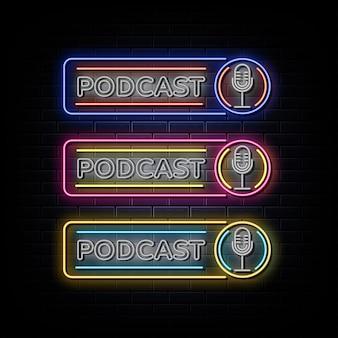 Podcast set neon teken neon symbool