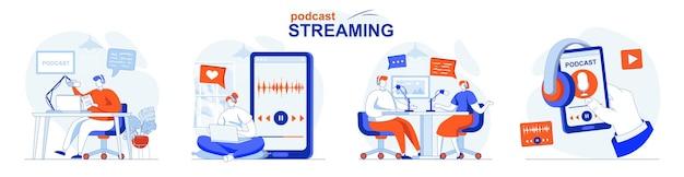 Podcast streaming concept set live uitzending van interviews gesprekken of lezingen