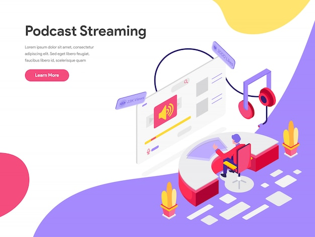 Podcast streaming isometrische illustratie concept
