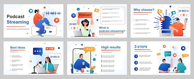 Podcast-streamingconcept voor presentatiediasjabloon mensen met koptelefoon