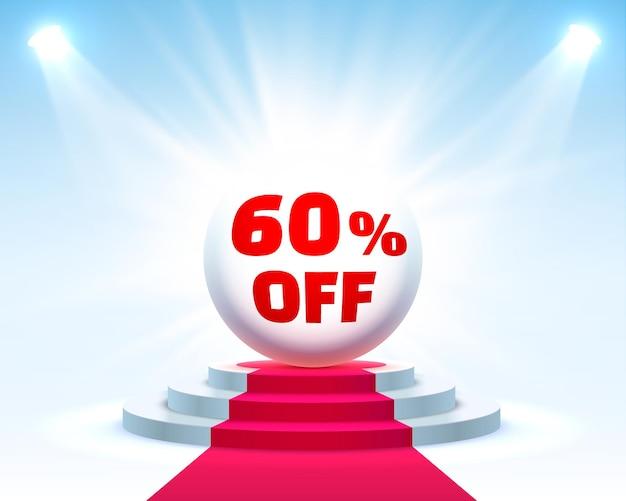 Podium 60 korting met aandelenkortingspercentage. vector illustratie