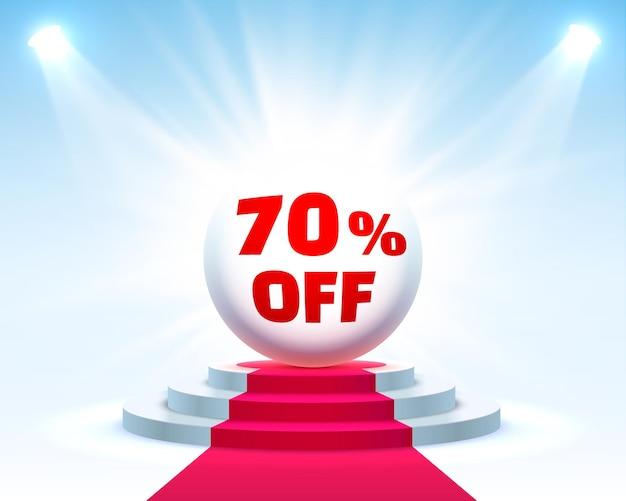 Podium 70 korting met aandelenkortingspercentage. vector illustratie