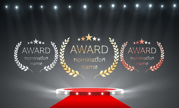 Podium award goud, zilver, brons op de achtergrond met schijnwerpers. vector illustratie