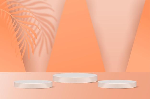 Podium display-product cosmetische banners, realistische stijl minimalistisch.