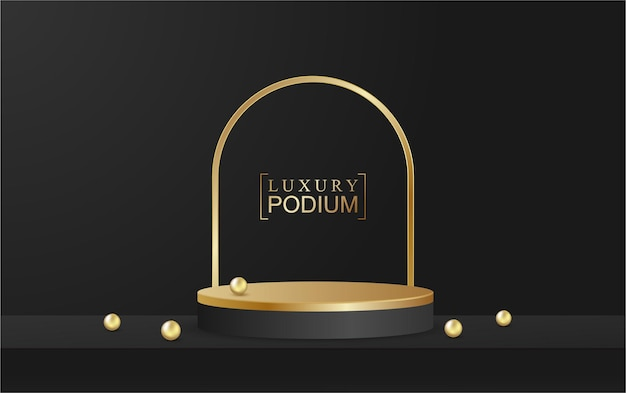 Podium display product en sparkle lijn scene gouden luxe stijl zwarte achtergrond