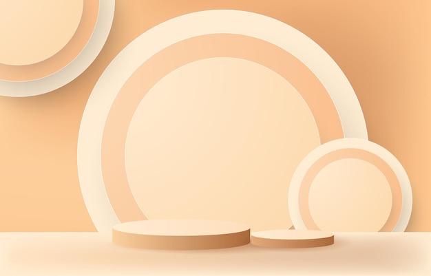 Podium en cilindersamenvatting op beige background