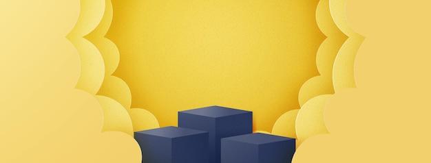 Podium in abstracte minimale scène met geometrische vorm van gele wolken, productpresentatie achtergrond. 3d papier gesneden vectorillustratie.