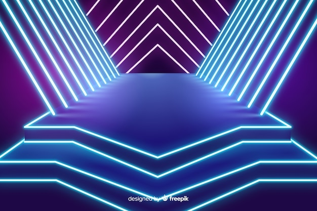 Podium lichten neon achtergrond
