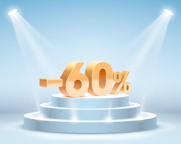 Podium met aandelenkortingspercentage. vector illustratie
