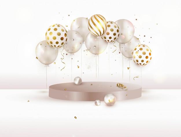 Podium met ballonnen. ontwerp voor feest of productpresentatie