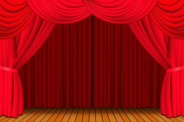 Podium met een gesloten rood theatergordijn voor een show