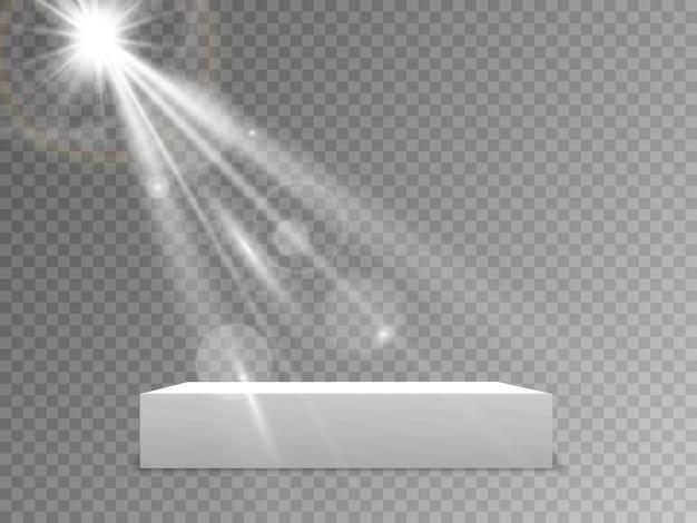 Podium met een rode loper. scène voor de prijsuitreiking. voetstuk. schijnwerper. illustratie. podium in het licht in de sterren.