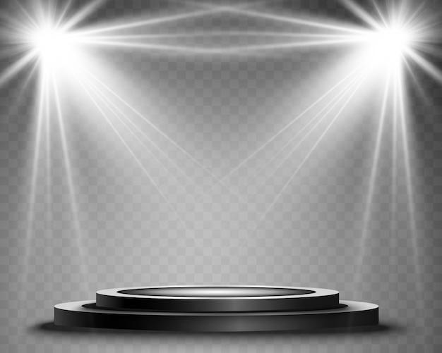 Podium met een schijnwerper op een donkere achtergrond, eerste plaats, roem en populariteit. illustratie. realistisch podium verlicht door schijnwerpers.