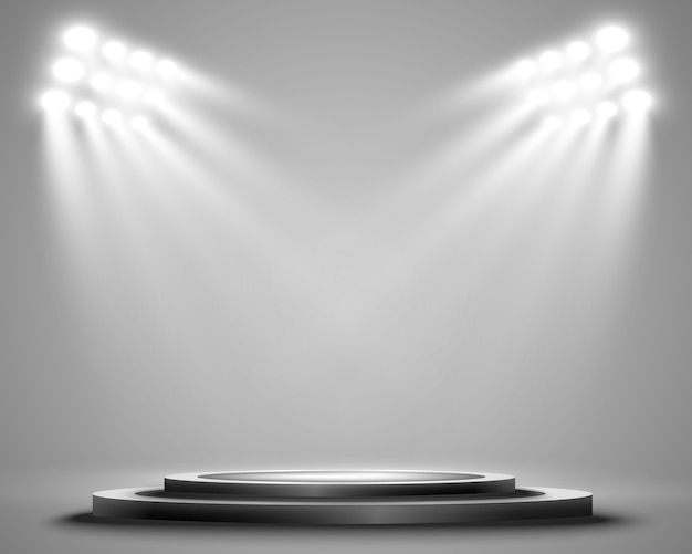 Podium met een spotlight op een donkere achtergrond, eerste plaats, bekendheid en populariteit. illustratie. realistisch podium verlicht door schijnwerpers.