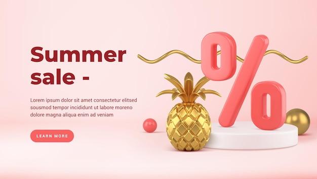 Podium met kortingspercentages en gouden ananas