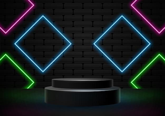 Podium met neonlicht vormen illustratie vector