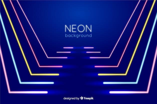 Podium met neonlichten lijnen vorm