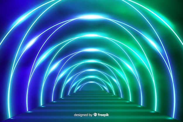 Podium met neonlichtenachtergrond