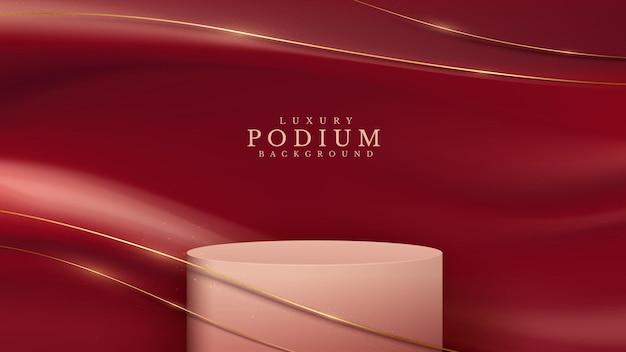 Podium met producten en gouden krommelijnen op rode stof. 3d luxe achtergrondconcept. vectorillustratie voor het bevorderen van verkoop en marketing.