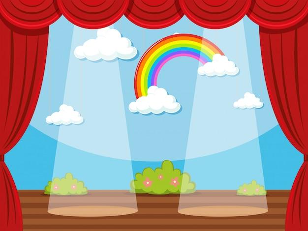Podium met regenboog in de achtergrond