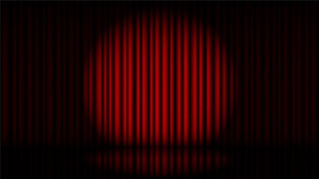 Podium met rood gordijn en spotlicht