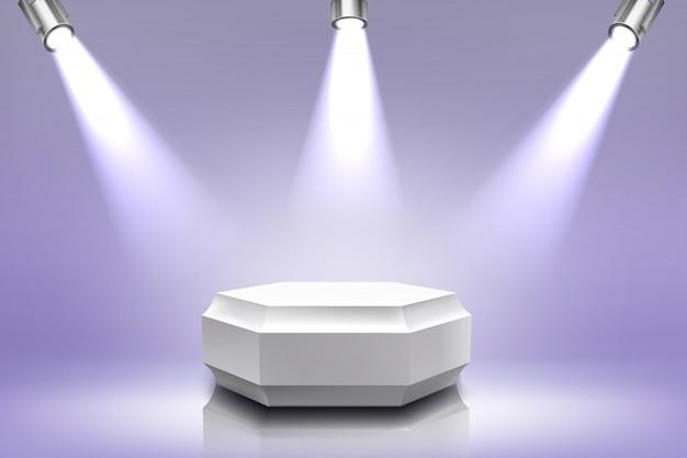 Podium met schijnwerperverlichting, zeshoekig podium
