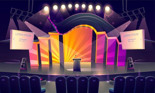 Podium met tribune, stoelen en schijnwerpers