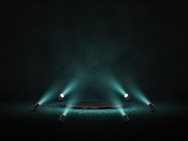 Podium met verlichting. podium, podium, scène met schijnwerpers.