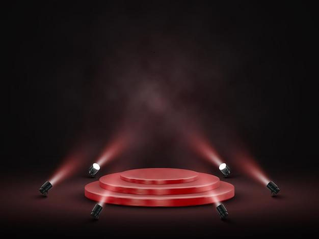 Podium met verlichting. podium, podium, scène voor prijsuitreiking met schijnwerpers. vector illustratie.