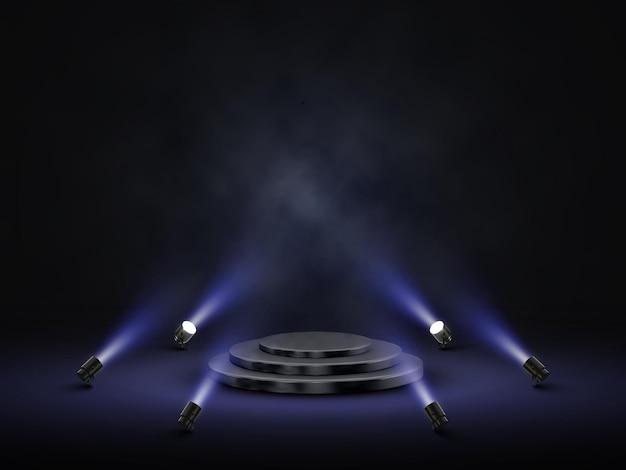 Podium met verlichting. podium, podium, scène voor prijsuitreiking met schijnwerpers.