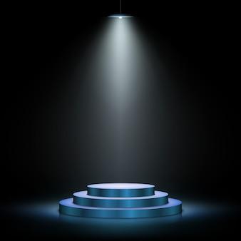 Podium met verlichting. scène met voor prijsuitreiking op donkere achtergrond. illustratie.