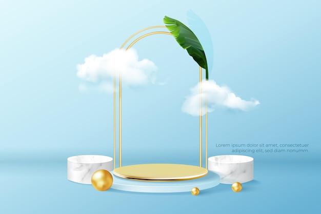 Podium met wolken en leeg gouden podium voor productpresentatie.