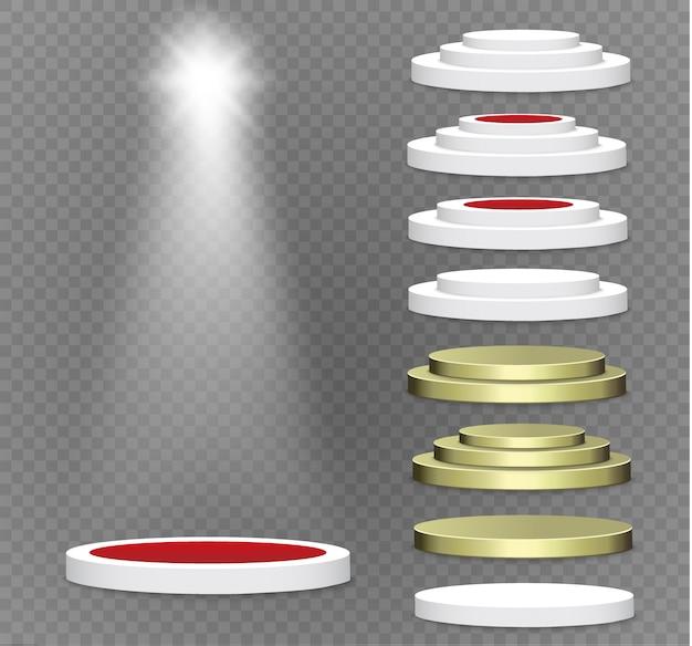 Podium op een transparante achtergrond. het podium van winnaars met felle lichten. schijnwerper. verlichting. illustratie. aandacht.