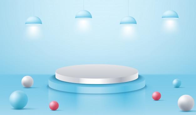 Podium podium met verlichting, podium podium scène met voor prijsuitreiking op blauwe achtergrond
