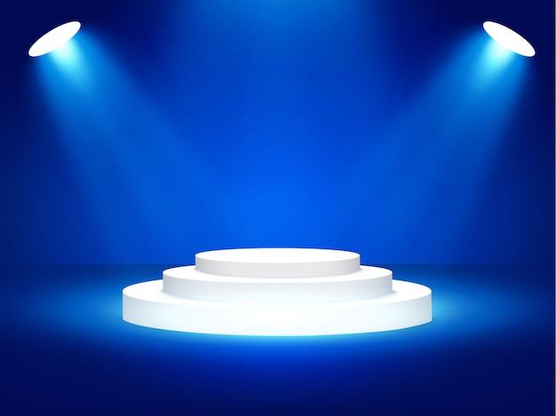 Podium podium met verlichting, podium podium scène voor prijsuitreiking op blauwe achtergrond,
